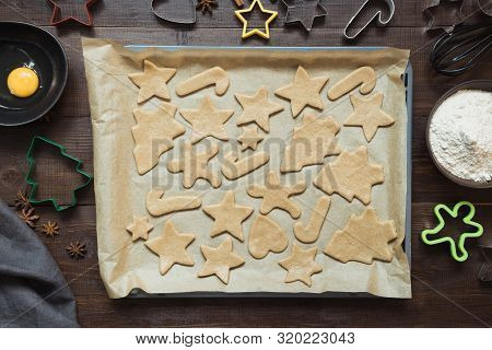 Homemade Christmas Cookies On Parchment. Xmas Pattern.
