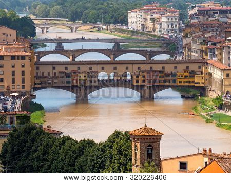 Sunlight View Of Florence, Ponte Vecchio, Palazzo Vecchio And Florence Duomo, Italy. Florence Archit