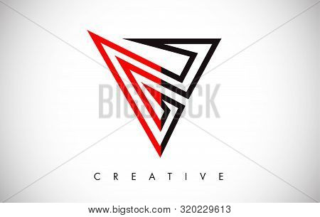 V Black And Red Letter Logo. Creative V Letter Logo Icon Design With Monogram Line Vector Illustrati