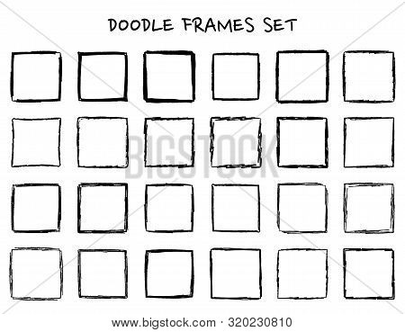 Set Of Hand Drawn Doodle, Hand Drawn Square Frames And Borders. Mono Line Design Templates, Isolated