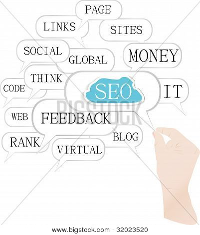 Hand holding a cloud of search engine optimization theme