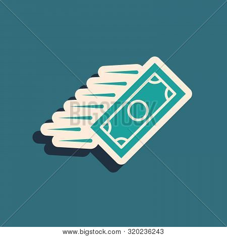 Green Fast Payments Icon Isolated On Blue Background. Fast Money Transfer Payment. Financial Service