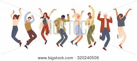 Happy Jumping Office Workers Flat Vector Illustration. Cheerful Corporate Employees Cartoon Characte