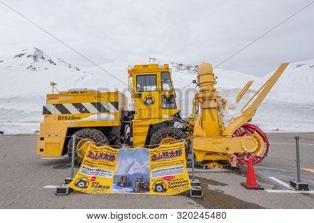 Tateyama, Japan - April 21, 2019 : Kuma Taro Snow Plow Truck On Car Parking After Finished Work, Hea