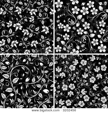 Four Seamless Flower Patterns