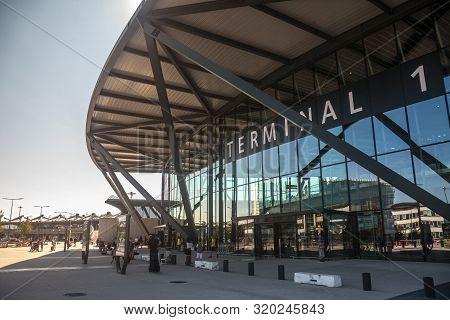 Lyon, France - July 13, 2019: Main Entrance To Terminal 1 Of Aeroport De Lyon Saint Exupery Airport,
