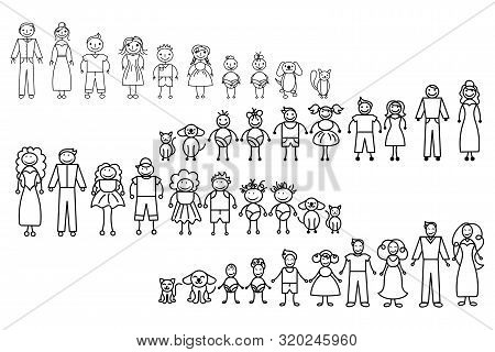 Set Of Happy Cartoon Doodle Figure Family, Stick Man. Stickman Illustration Featuring A Mother And F