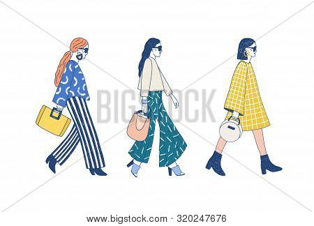 Fashion Show Runway Flat Vector Illustration. Models Dressed In Haute Couture Clothing Cartoon Chara