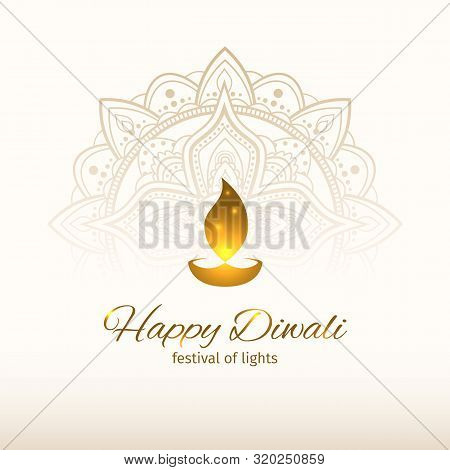 Happy Diwali Vector Illustration. Design Template With Light Festive Golden Background. Festive Diwa