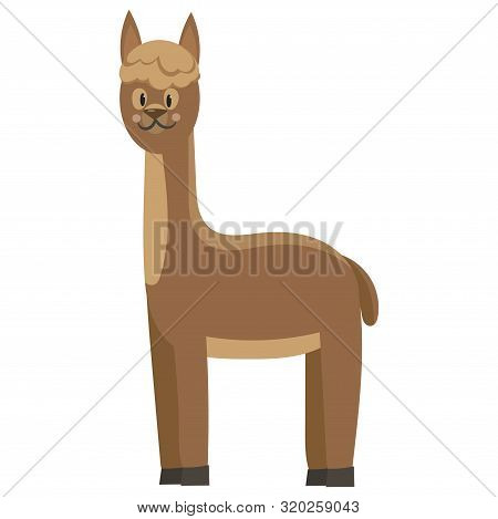 Cartoon Lama. Vector Illustration Of A Cute Lama. Drawing Animal For Children. Zoo For Kids.