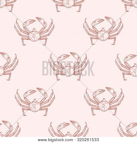 Sea crab vector seamless pattern. Underwater animal, hand drawn marine crayfish on pastel background. Restaurant seafood. Crustacean, sea creature with pincers wrapping paper, wallpaper textile design. poster