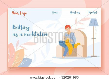 Knitting As A Meditation Horizontal Banner. Beautiful Young Woman Sitting On Sofa Knit Hand Made Sca