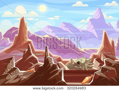 Mountain Landscape With Archaeological Fossils, Cartoon Vector Illustration. Red-brown Mountains Und