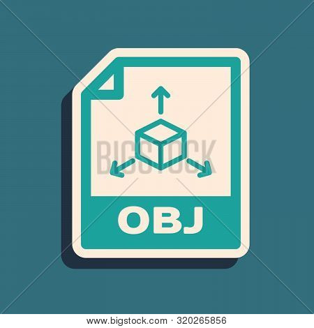 Green Obj File Document. Download Obj Button Icon Isolated On Blue Background. Obj File Symbol. Long