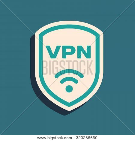 Green Shield With Vpn And Wifi Wireless Internet Network Symbol Icon Isolated On Blue Background. Vp
