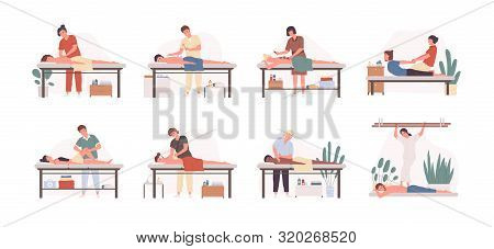Massage Therapists At Work Flat Vector Illustrations Set. Patients Lying On Couch, Enjoying Body Rel