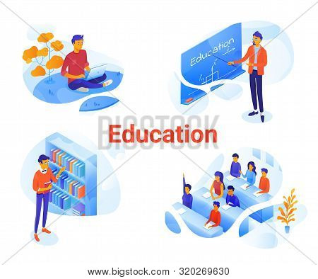 Education Flat Isometric Illustrations Set. University, College Cliparts Pack. Online Courses, E-lea