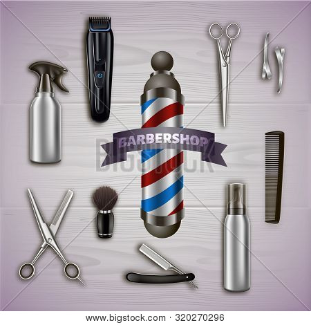 Logo Barbershop And Metal Tools On Gray Background. Barber Tool Kit. Hair Styling Product. Logo On B