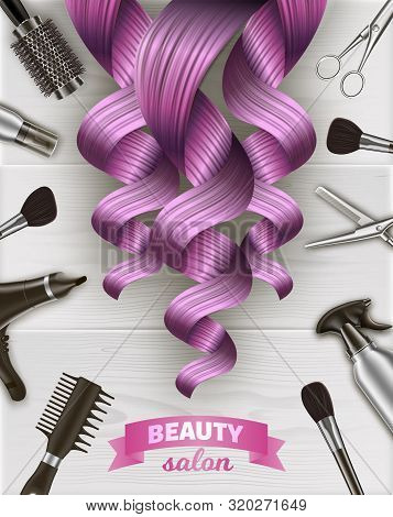 Curls Pink Hair. Beauty Salon Emblem. Hairdresser Tool Kit. Scissors And Hairdryer On Table. Logo On