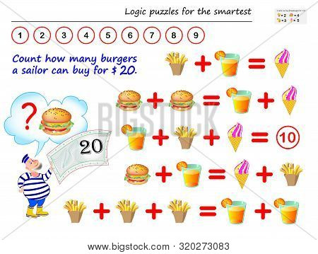 Mathematical Logic Puzzle Game. Help The Sailor To Count How Many Burgers He Can Buy For $ 20. Print
