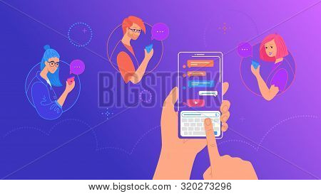 Human Hand Holds Smart Phone With Messenger App And Keyboard On Screen. Gradient Vector Illustration