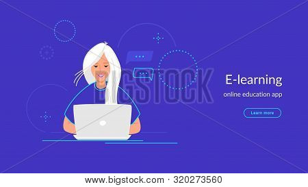 Youg Woman Working With Laptop At Her Work Desk Typing On Keyboard. Gradient Line Vector Illustratio