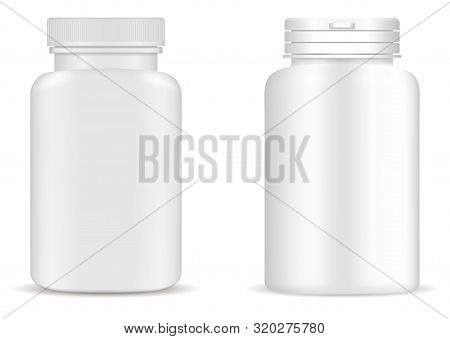 Supplement Bottle. Pill Bottle Mockup. Medicine Jar. White Vector Plastic Package Design. 3d Medical