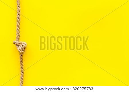Isolated Rope Mockup On Yellow Background Top View