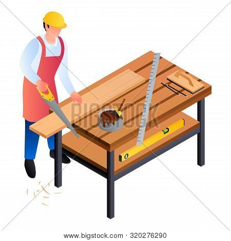 Carpenter Worker Icon. Isometric Of Carpenter Worker Vector Icon For Web Design Isolated On White Ba