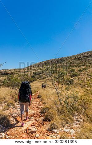 Hiker On The Way To The Top Of Mount Sonder Just Outside Alice Springs In Central Australia, West Ma