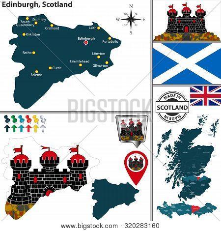 Vector Map Of Edinburgh City, Scotland And Location On Scottish Map