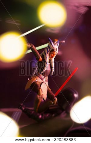 AUG 31 2019: Recreation of a scene from Star Wars Rebels where ex-Jedi Ahsoka Tano confronts her old master Anakin Skywalker / Darth Vader - Hasbro action figures