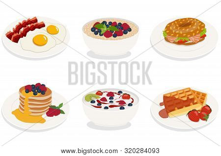 Set Of Breakfast Menu Items Isolated. Fried Eggs With Bacon, Cereals, Bagel, Pancakes, Yogurt, Belgi