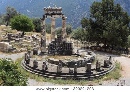 Delphi, Greece - July 19, 2019: The Archaeological Site Of Delphi, Seat Of The Oracle Of The God Apo