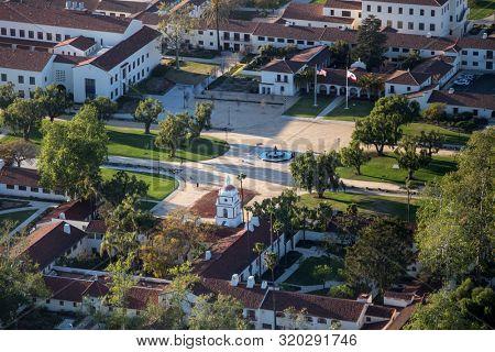 Camarillo, California, USA - March 26, 2018:  Aerial view of campus quad architecture at California State University Channel Islands in Ventura County.