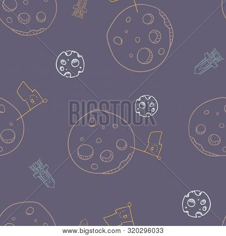 Vector Moon Conquest With Landing Rockets On Navy Blue Seamless Pattern Background.