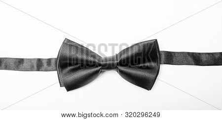 Fix Bow Tie. Groom Wedding. Tying Bow Tie. Textile Fabric Bow Close Up. Modern Formal Style. Menswea