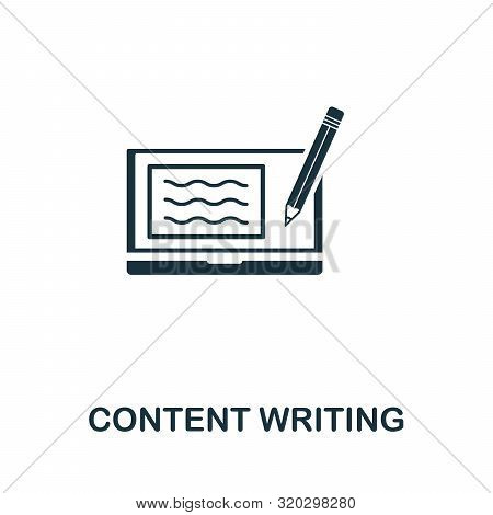 Content Writing Vector Icon Symbol. Creative Sign From Passive Income Icons Collection. Filled Flat