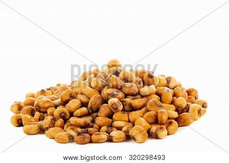 A Pile Of Toasted Salted Corn On A White Background