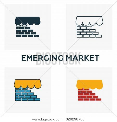 Emerging Market Icon Set. Four Elements In Diferent Styles From Fintech Icons Collection. Creative E