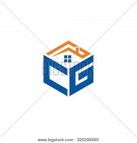 Abstract Polygonal Cg Logo, Cg Letter Logo, Polygonal Cg With Home Logo Sing And Symbol