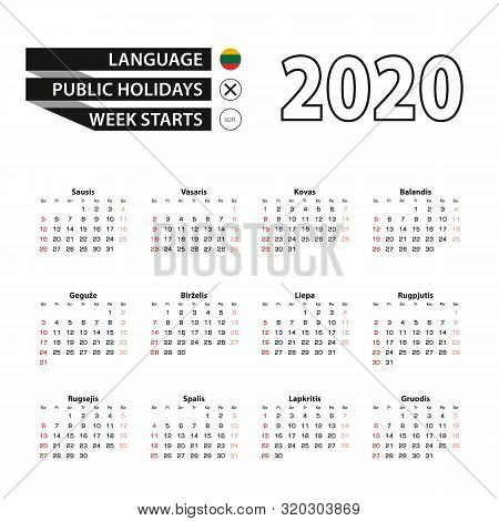 2020 Calendar In Lithuanian Language, Week Starts From Sunday. Vector Illustration.