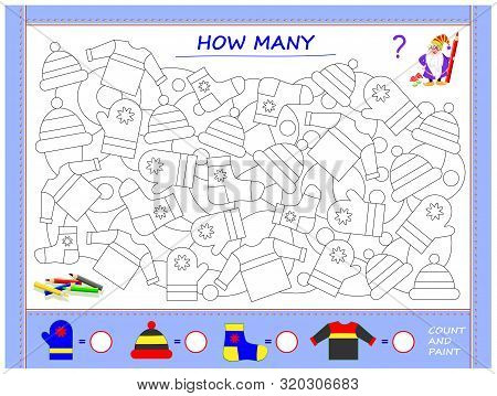 Educational Page For Little Children On Math. Find Clothes, Paint Them, Count The Quantity And Write