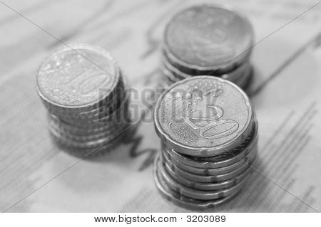 Piles Of Euros On Financial Data.