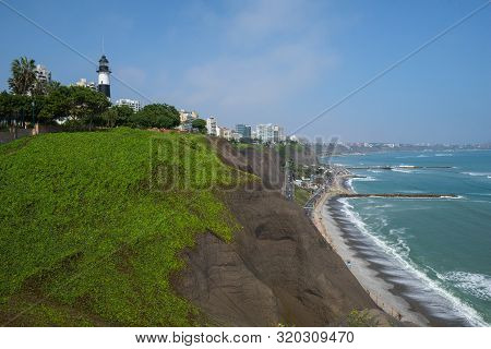 The Beautiful Green Cliffs Of The Costa Verde In The Miraflores District Of Lima, Peru