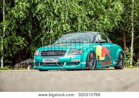 Moscow, Russia: July 06, 2019: Audi Tt Red Bull Racing On The Parking Near The Forest. Green Color P