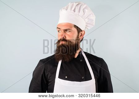 Male Chef. Food Concept. Bearded Chef In Uniform, Hat And Apron. Professional Chef, Cook Or Baker. C