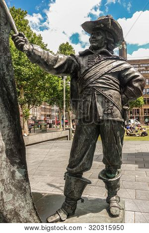 Amsterdam, The Netherlands - July 1, 2019: De Nachtwacht Compostion Of Statues On Rembrandtplein. Cl