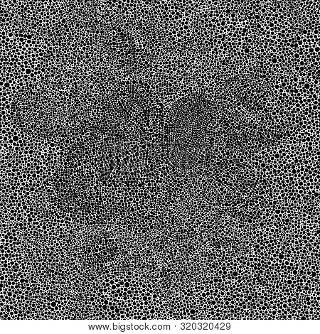 Seamless Black And White Pattern In Pointillism Style. Doodle Hand-drawn Ornament. Polka Dot Print F