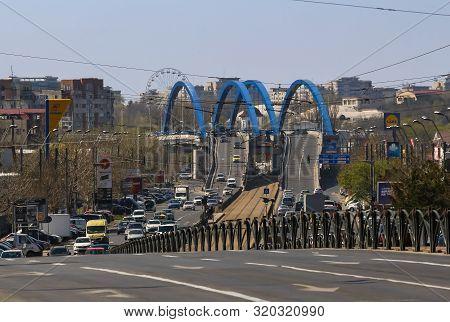 Bucharest, Romania - March 25, 2019: The Mihai Bravu Bridge Is Seen At The End Of Mihai Bravu Boulev
